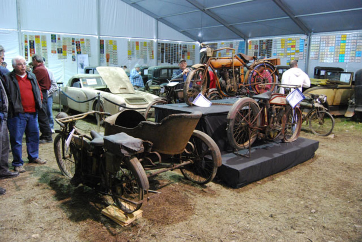 """The """"finer junctiques"""" were in the large tent outside the bidder gallery. They included many Ford Model T's and Model A's, some special interest cars and a gaggle of very rare early motorcycles (and side cars)."""