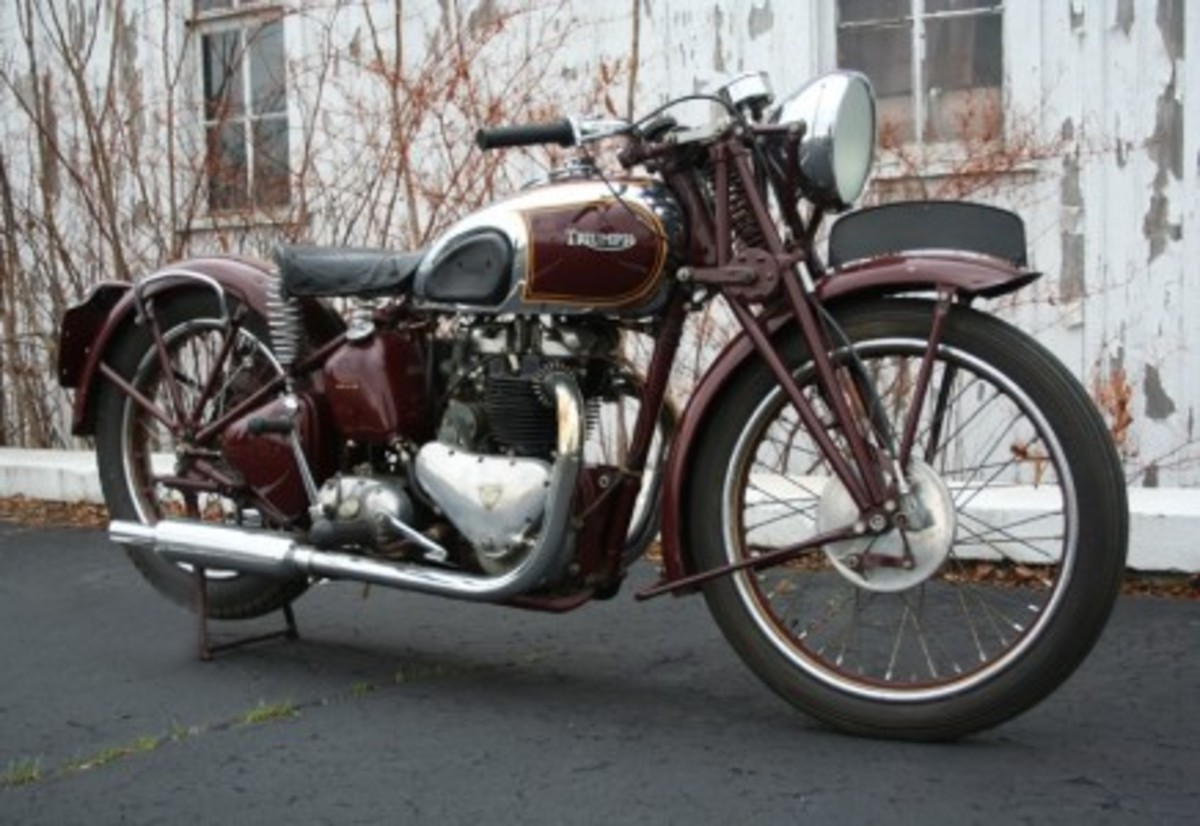 This 1938 Triumph Speed Twin was restored for Steve McQueen by his long time friend and racing buddy Bud Ekins at Bud's shop in North Hollywood, California. Bud's shop sticker is still displayed on the motorcycle. It was then sold at the Steve McQueen Estate Auction, Imperial Palace Hotel & Casino November 24-25, 1984. This documented motorcycle has the heritage of both Steve and Bud and is an important part of motorcycle history for decades to come.