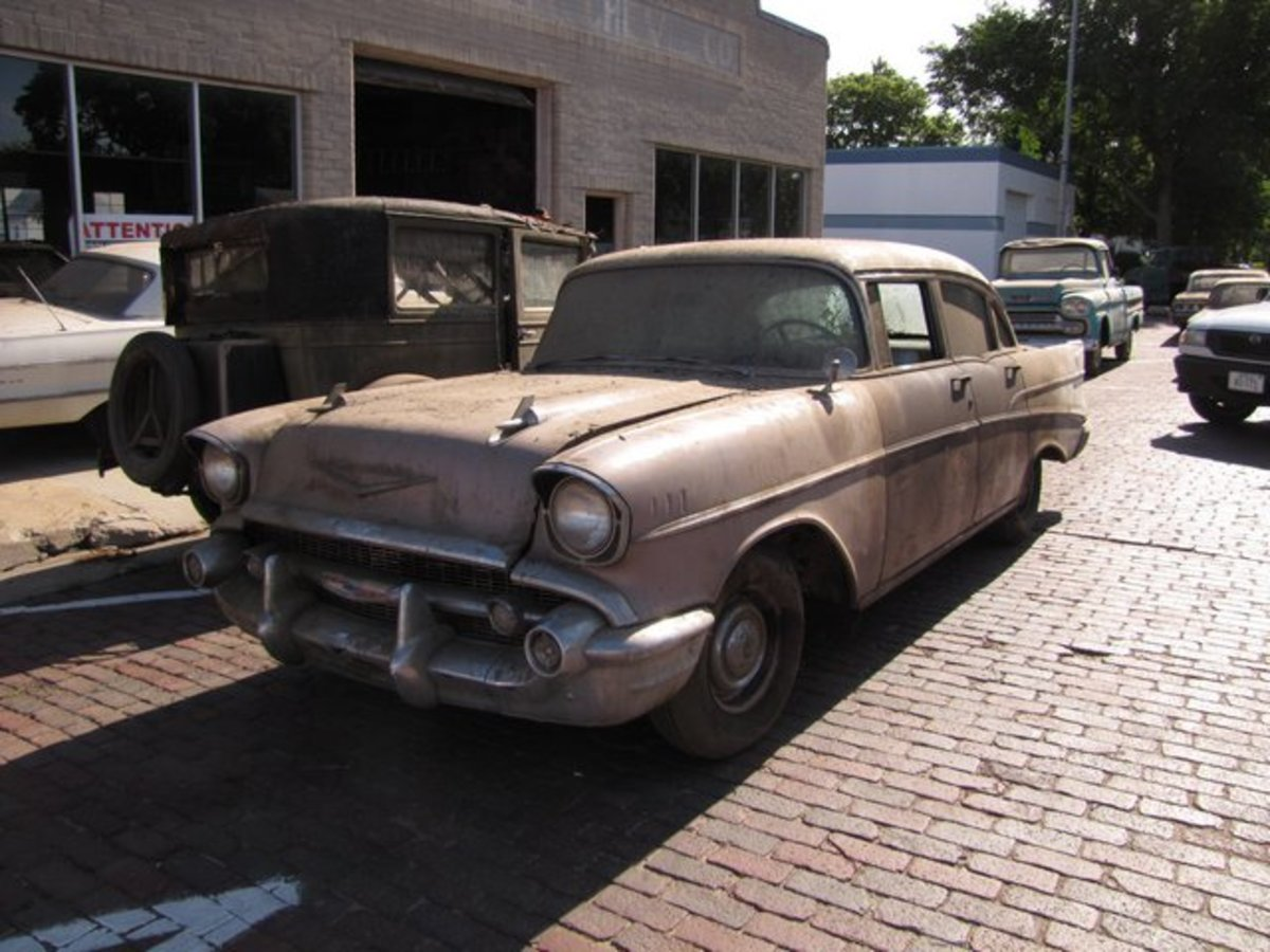 Among Lambrecht Chevrolet's low-mileage trade-ins is this 1957 Chevrolet Two-Ten sedan in straight and solid condition.