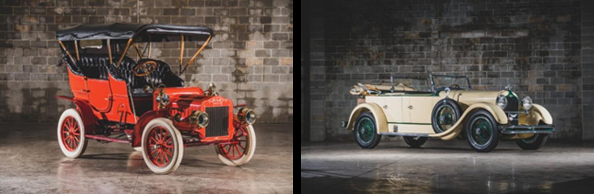 LEFT: 1906 Mason Touring, RIGHT: 1927 Duesenberg Model X Dual-Cowl Phaeton. Photos - Darin Schnabel © 2019 Courtesy of RM Sotheby's