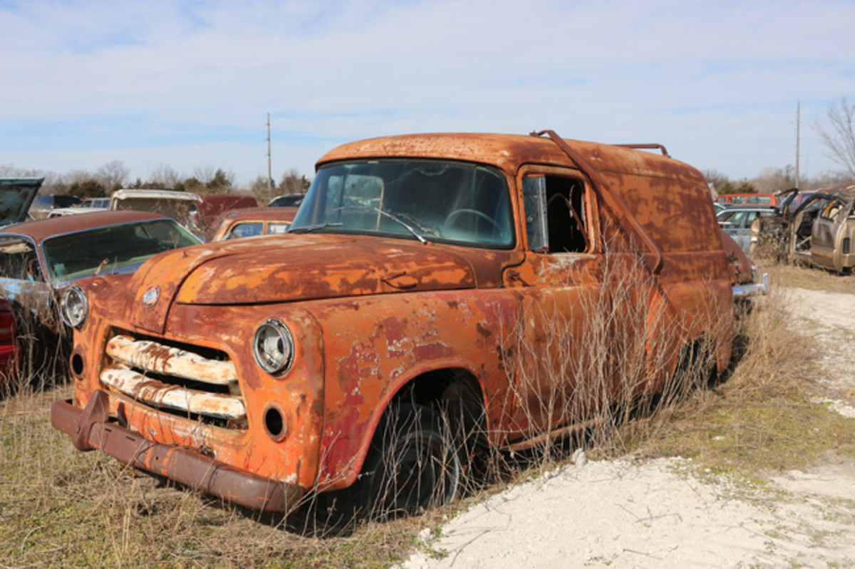 Roof racks offer some hints into this 1955 Dodge panel truck's previous life as a work truck.