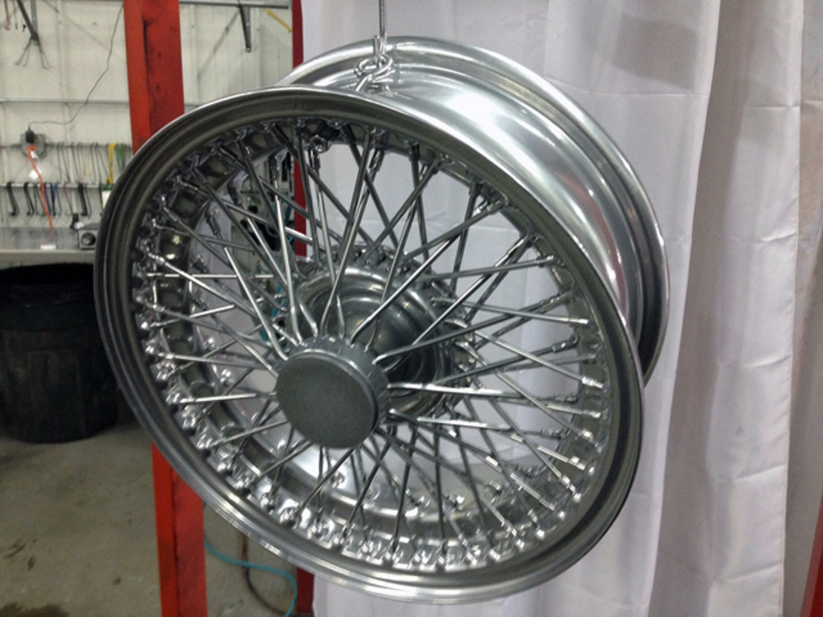 Vintage Works price for doing this Triumph TR250 wire wheel was $20 less than some other powder coaters charge.