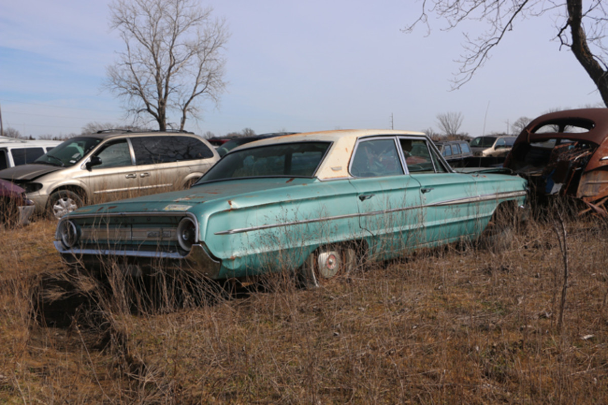 There are a lot of good parts remaining on this 1964 Ford Galaxie four-door sedan.