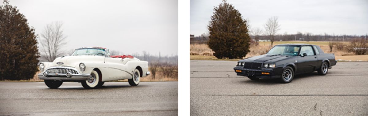 LEFT: 1953 Buick Skylark Convertible (Credit – Teddy Pieper © 2020 Courtesy of RM Sotheby's)RIGHT: 1987 Buick Grand National (Credit – Teddy Pieper © 2020 Courtesy of RM Sotheby's)