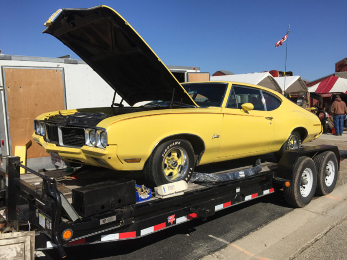 A bright yellow, driver-quality 1970 Oldsmobile Rallye 350 Sport Coupe greeted visitors entering the Jefferson County Fairgrounds from the east. It was for sale, but no price was listed. Examples in similar condition can be found for $12,000-15,000.