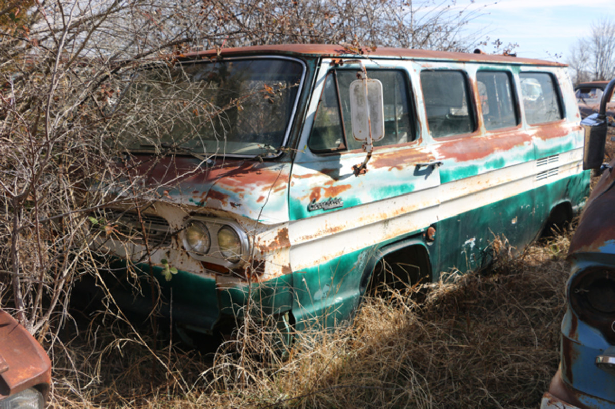 The interior has been gutted on this 1964 Corvair 95 Greenbrier Sportswagon.