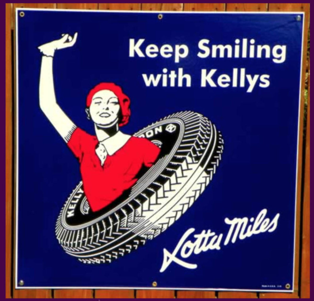 This new 24x24-inch sign accurately replicates an original Kelly Tire sign down to the porcelain construction.