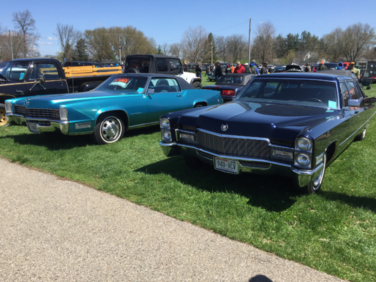 Cadillac's sportiest and most formal 1968 models were paired next to each other in the Spring Jefferson car corral. The Eldorado had 60,000 miles but no price tag; no details were given for the Series 75 limousine. Neither had a price tag.