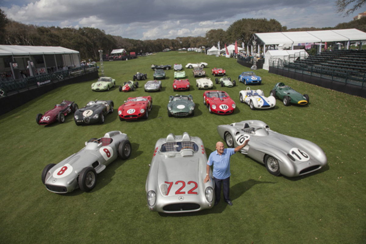 Sir Stirling Moss with his famous racers. (Photo credit: Neil Rashba)
