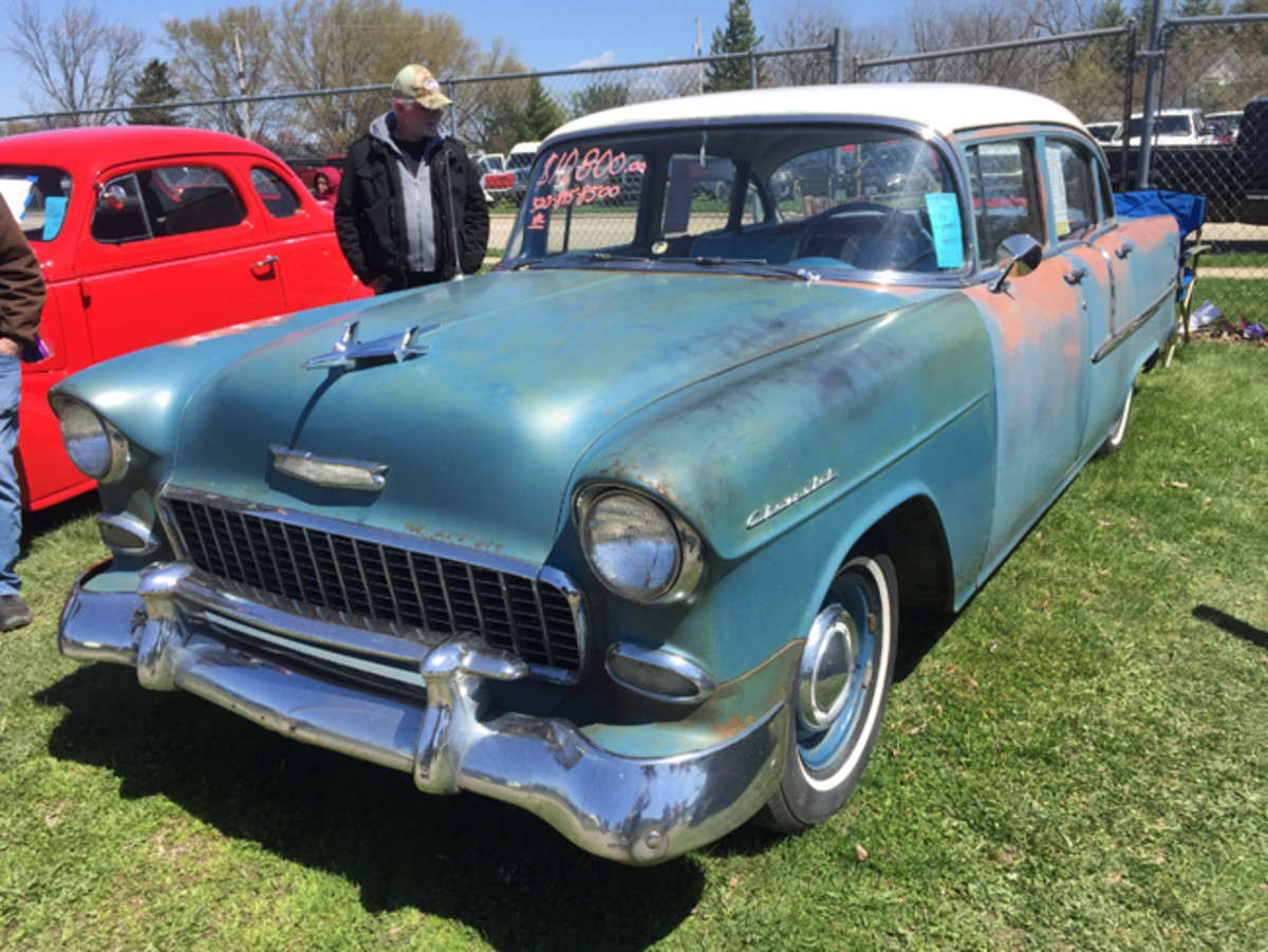 A solid, two-owner 1955 Chevrolet Two-Ten sedan in largely original condition had its born-with 265-cid V-8 rebuilt and was for sale at $10,800 in the car corral.