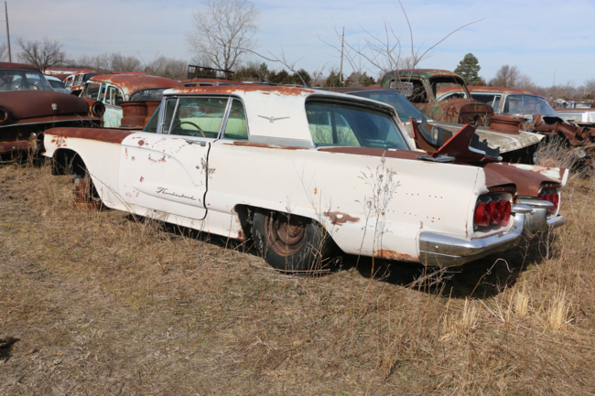 There are at least a half-dozen Ford Thunderbirds in the yard including this 1960 model.