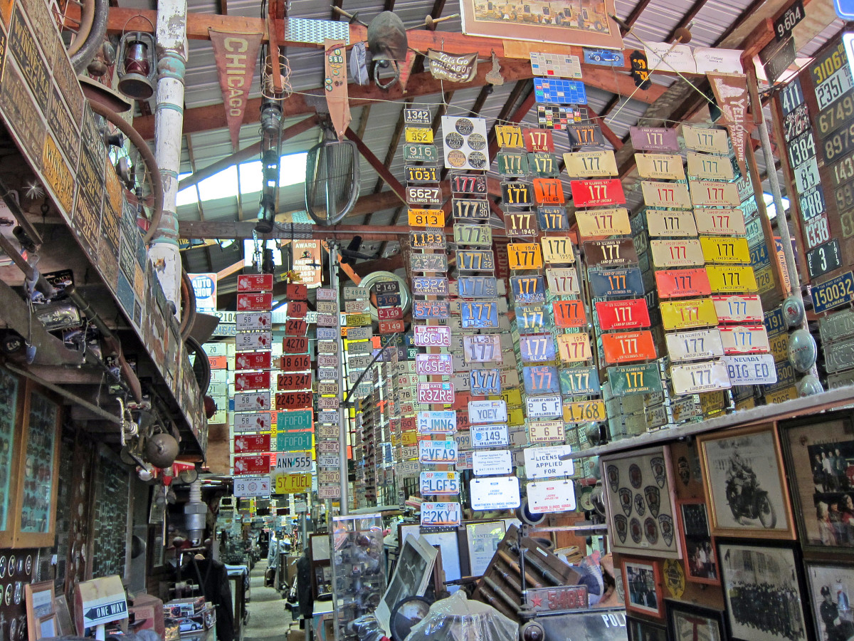 A million dollar's worth of license plates in the collection - a small sample.