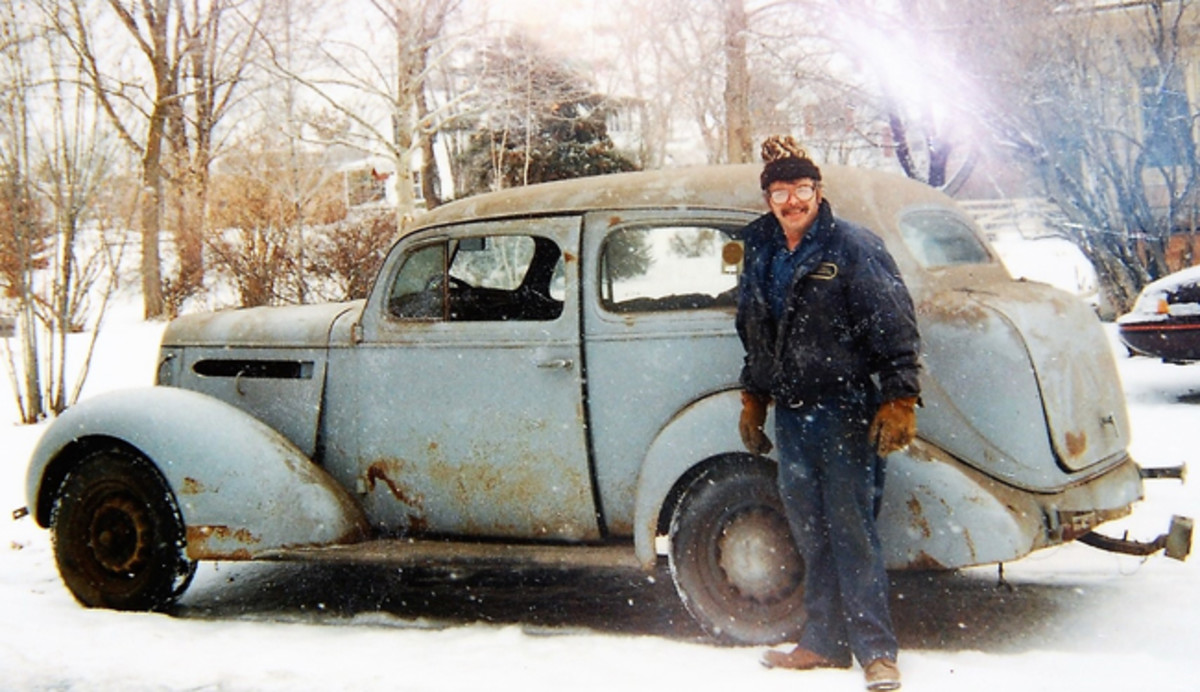 Here is a photo of the car prior to its restoration. It's pretty apparent that the family didn't baby the Pontiac and put a lot of labor and love into bring it back.
