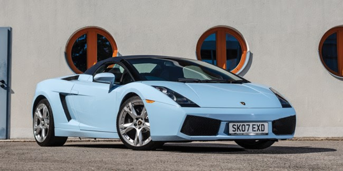 2007 Lamborghini Gallardo Spyder (Est. £120,000 - £150,000)Delivered new to Rod Stewart, and still with just its second owner, the Gallardo was ordered new in stunning Celeste Phoebe over Blu Scylla and Avorio colour scheme and has currently covered just over 3,000 miles from new. Stewart's ownership of this particular Gallardo Spyder is confirmed by an accompanying copy of the original invoice and a letter from Lamborghini Edinburgh, which notes that the car was optioned with the E-Gear paddle shift transmission, the branding package, and a two-tone interior.