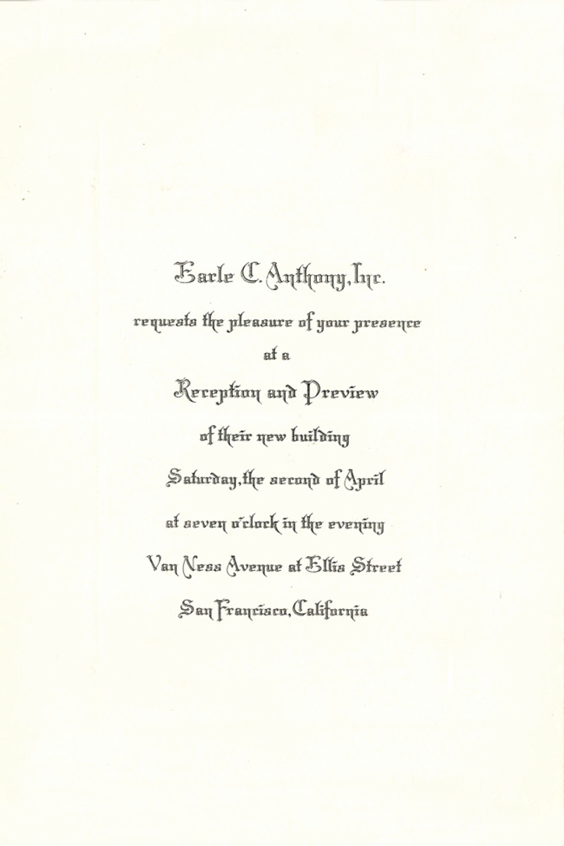 Earle C. Anthony knew how to build prestige and class among its clientele, as this special invitation noted in 1927.