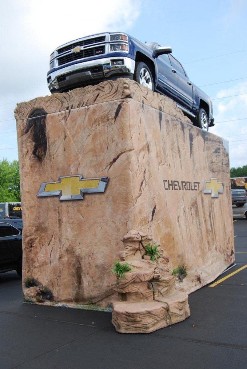 When Larry Fechter of www.IolaOldCarShow.com was asked about how this Chevy truck was put on the fake mountain, he didn't know for certain.