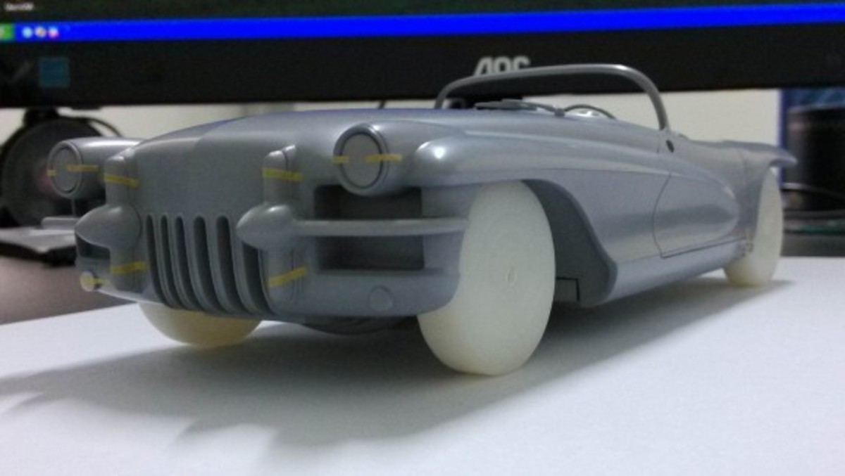 The preliminary model of the 1955 LaSalle II Roadster concept car under construction by Minichamps.    Top view of the 1955 LaSalle II Roadster model.        The interior of the LaSalle II model appears very detailed.   Rear view of the forthcoming model.