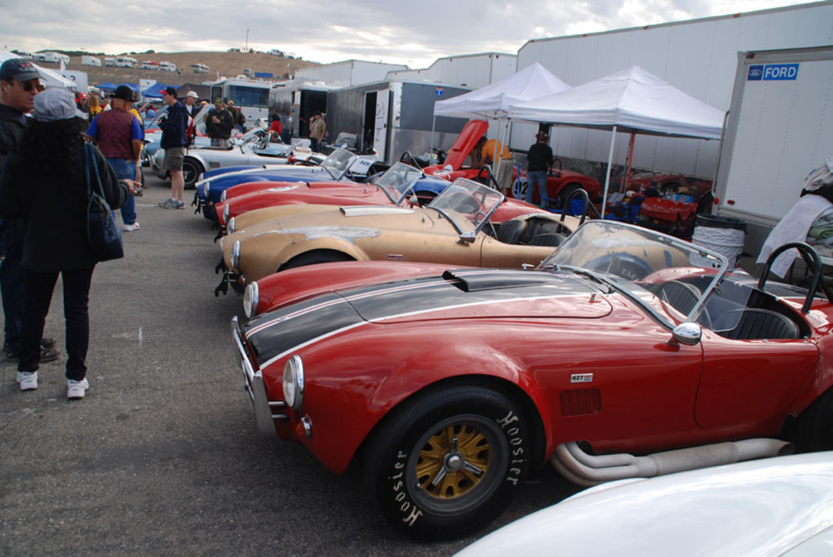 Just on row of Cobras ready to take to the track at the Rolex Monterey Motoring Reunion at Laguna Seca.