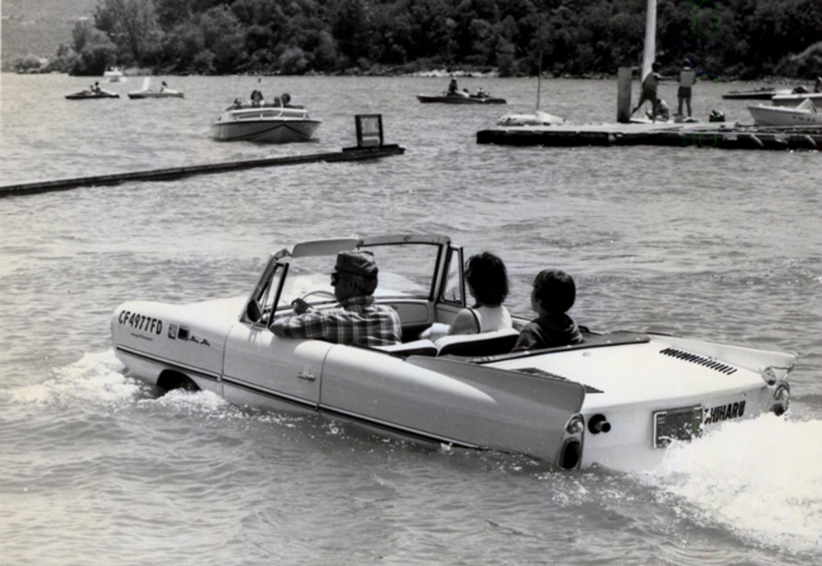 A 1966 Amphicar taking a swim. photo - OCW archives