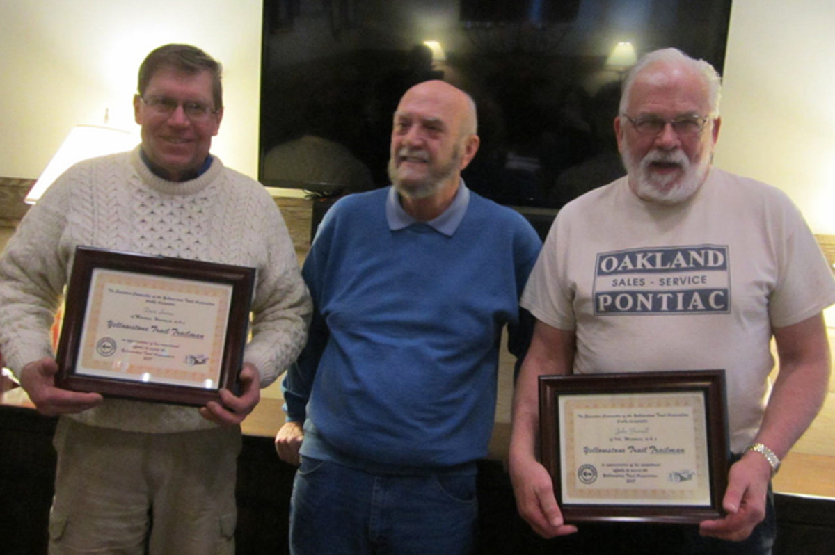 Mark Mowbray (c.) presented the Honorary Trailman certificates to Dave Sarna (l.) and John Gunnell (r).
