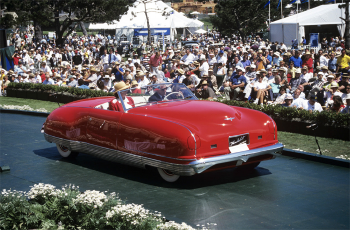 The 1941 Chrysler Thunderbolt crossing the awards ramp at the 1997 Pebble Beach Concours d'Elegance.