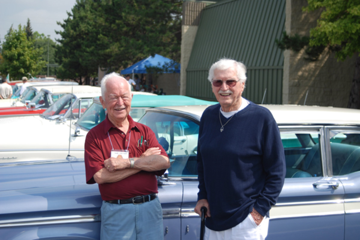 In 2007 at the 50th Anniversary of the Edsel in Dearborn, Mich., Chief Stylist Roy Brown (right) visited with another Edsel alum, C. Gayle Warnock, head of PR for the Edsel Division.