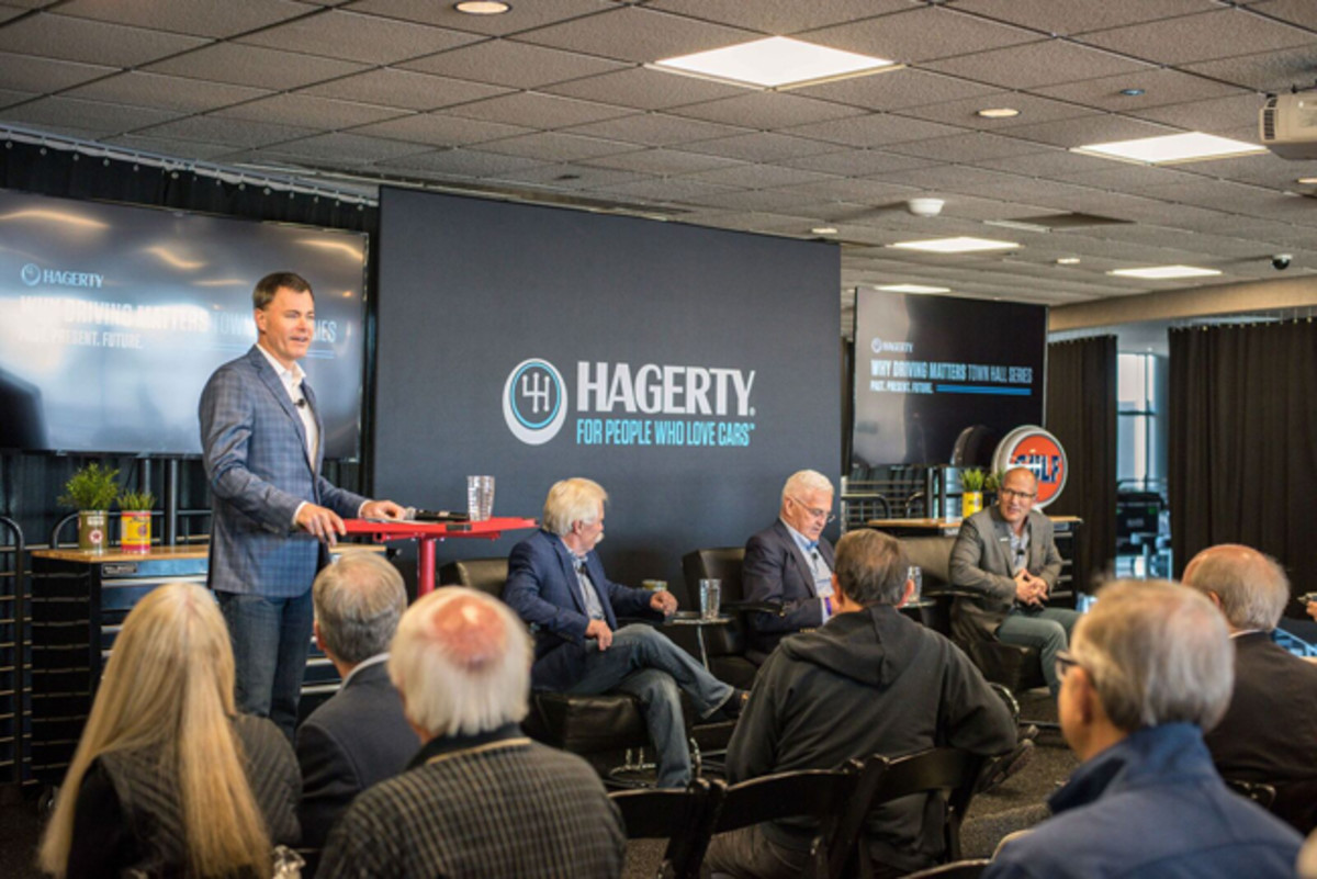 "Left to right is Larry Webster, editor of Hagerty magazine (moderator), Wayne Carini, host of Velocity TV's ""Chasing Classic Cars,"" Bob Lutz, former vice chairman and head of product development at General Motors, McKeel Hagerty, CEO of Hagerty."
