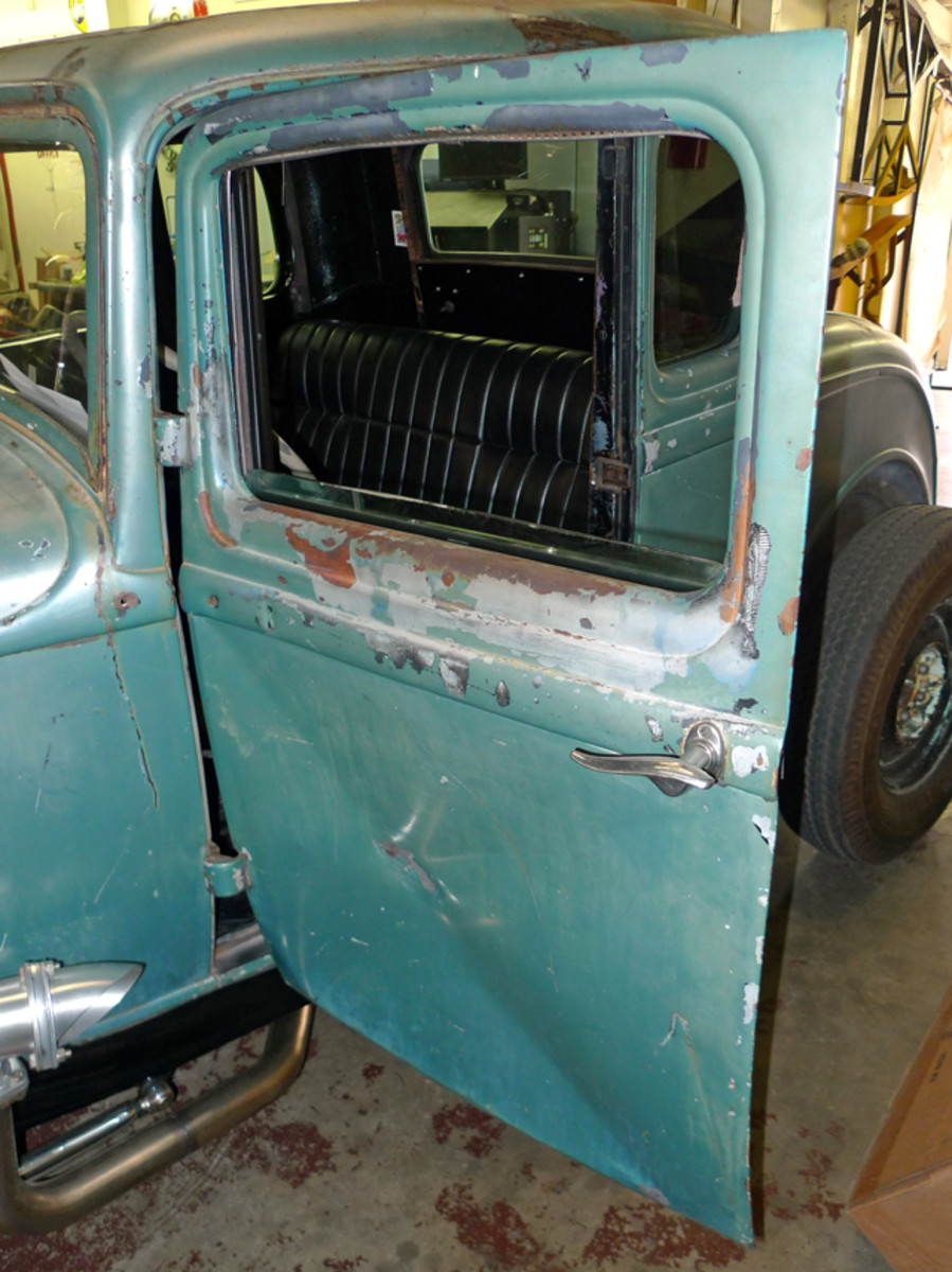 1. The damaged door's skin is badly stretched. While the used '32 Ford door supply hasn't run completely dry, surviving doors are rare and rather expensive, so hunting down a replacement seems impractical. A new door skin could be fabricated, however, and at this time, that's one of two options on the proverbial table.