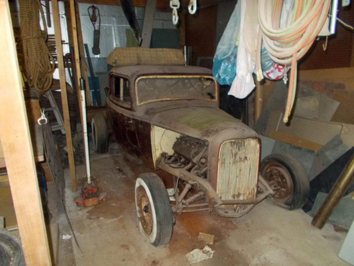 The 1932 Ford Deluxe three-window coupe as OCW reader Ken Robins found it in a barn in 2012. The coupe body was channeled over the frame and didn't run headlamps. Power came from a later Ford flathead that burned alcohol. To save weight, builder Francis Fortman installed a lightweight seat found in a salvage yard.
