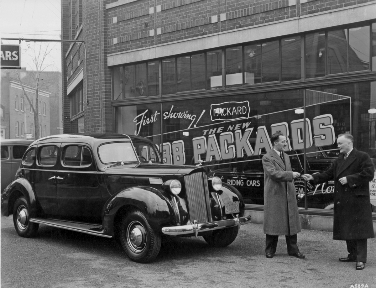 The Natonal Packard Museum welcomes Packards like this 1938 Six, photographed at a Toronto dealership, to its annual Classic Car Show July 20-22.