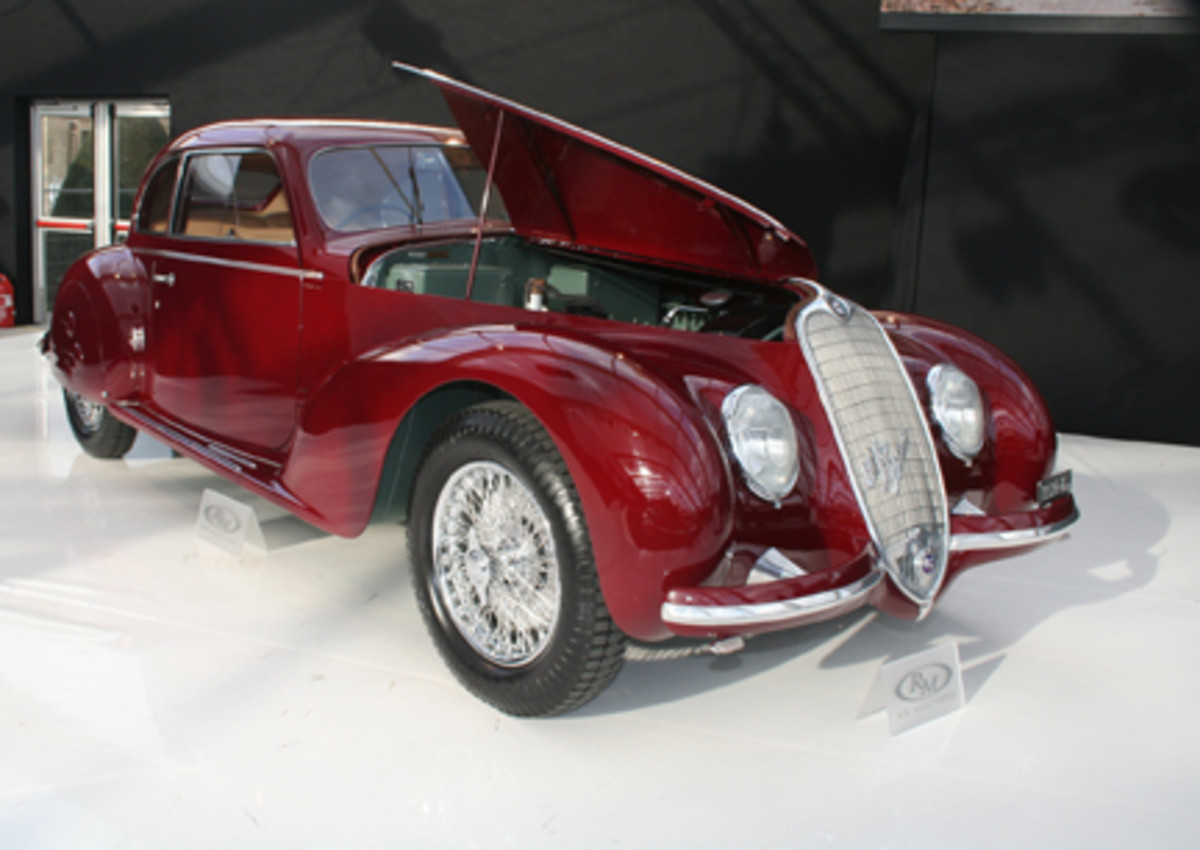 No sale: 1939 Alfa Romeo 6C2500 Sport Berlinetta with Mussolini provenance failed to meet reserve with a $1.98 million high bid.