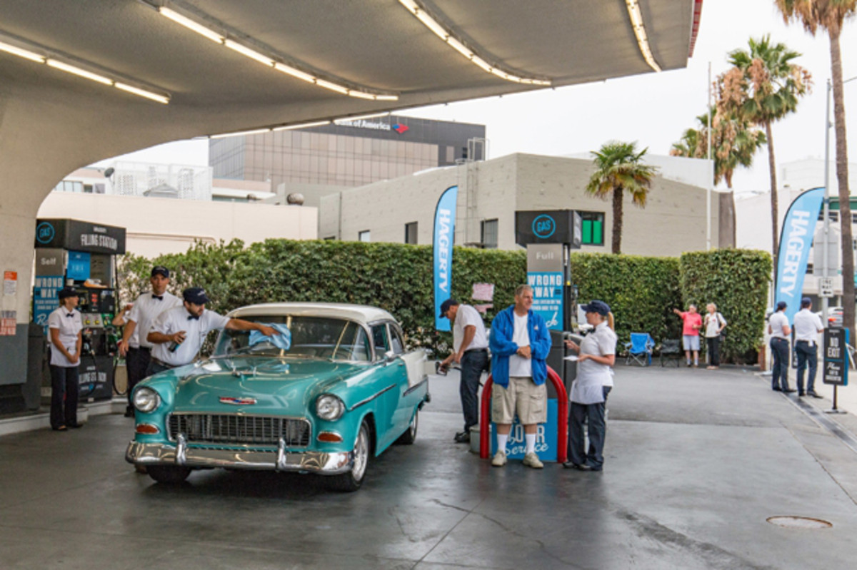 Owner Mike Novins and 1955 Chevrolet Bel Air from Northridge, CA purchased gas for 29 cents per gallon. (PRNewsFoto/Hagerty)