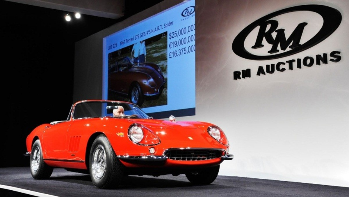 This 1967 Ferrari 275 GTB/4*S N.A.R.T. Spider was sold by RM Auctions for $27.5 million during its Monterey sale, held Aug. 16-17. (RM Auctions photo)