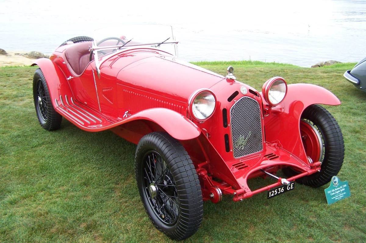 A record number of Alfa Romeo 8C models gathered at the 2013 Pebble Beach Concours d'Elegance. The nearly 30-car display included this 1931 Alfa Romeo 8C 2300 Corto Zagato Spider.