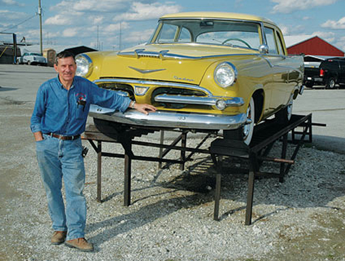Russ Noel with a '56 Dodge on the lot of Country Classic Cars