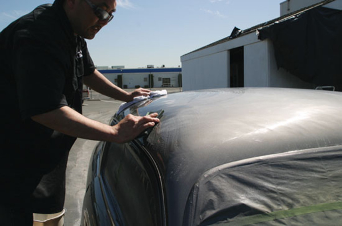 Now the fun begins. The entire car has to be color sanded with fine wet or dry sanding paper.