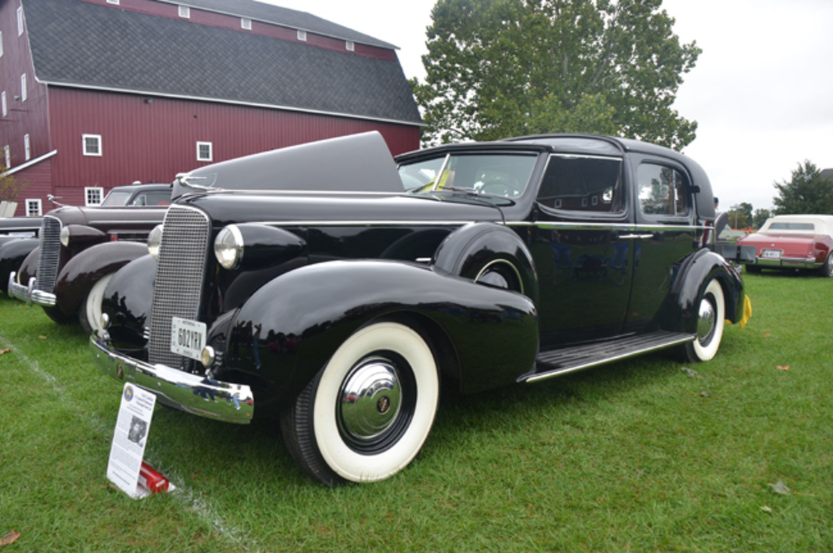 Greg Thomas' 1937 Cadillac V-12 town car with body by Fleetwood int eh display-only section.