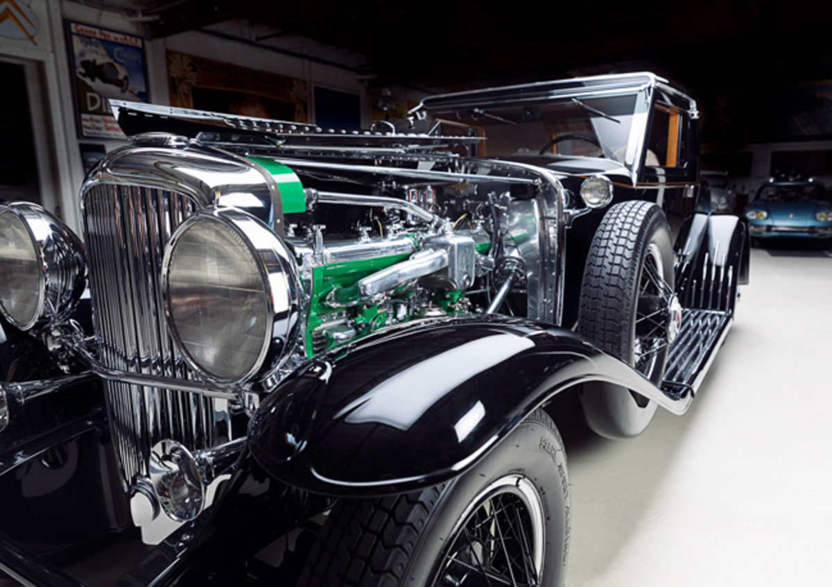 The chassis' original 420-cubic-inch, 265-hp Duesenberg straight-eight engine had been slightly modified, probably when the coupe body was removed and the convertible coupe body was installed in the 1940s. It has been painstakingly restored to the original Duesenberg specifications and appearance with a new head from the late Jim Schneck, who was a fellow Auburn Cord Duesenberg Club member.