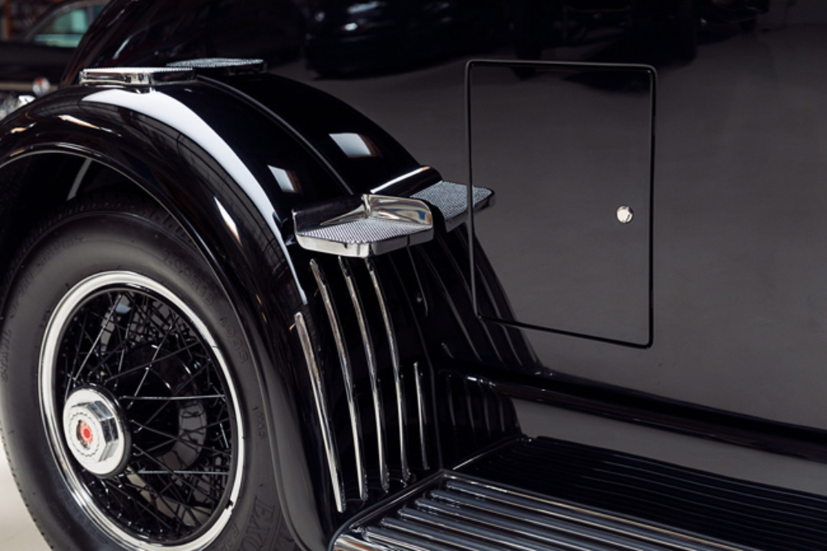 The Duesenberg Model J LaGrande coupes were rumble seat coupes with steps for entry on the passenger rear fenders and golf doors on the passenger side. All of the hardware had to be crafted from new using the scant three existing factory photos and 3D printing.