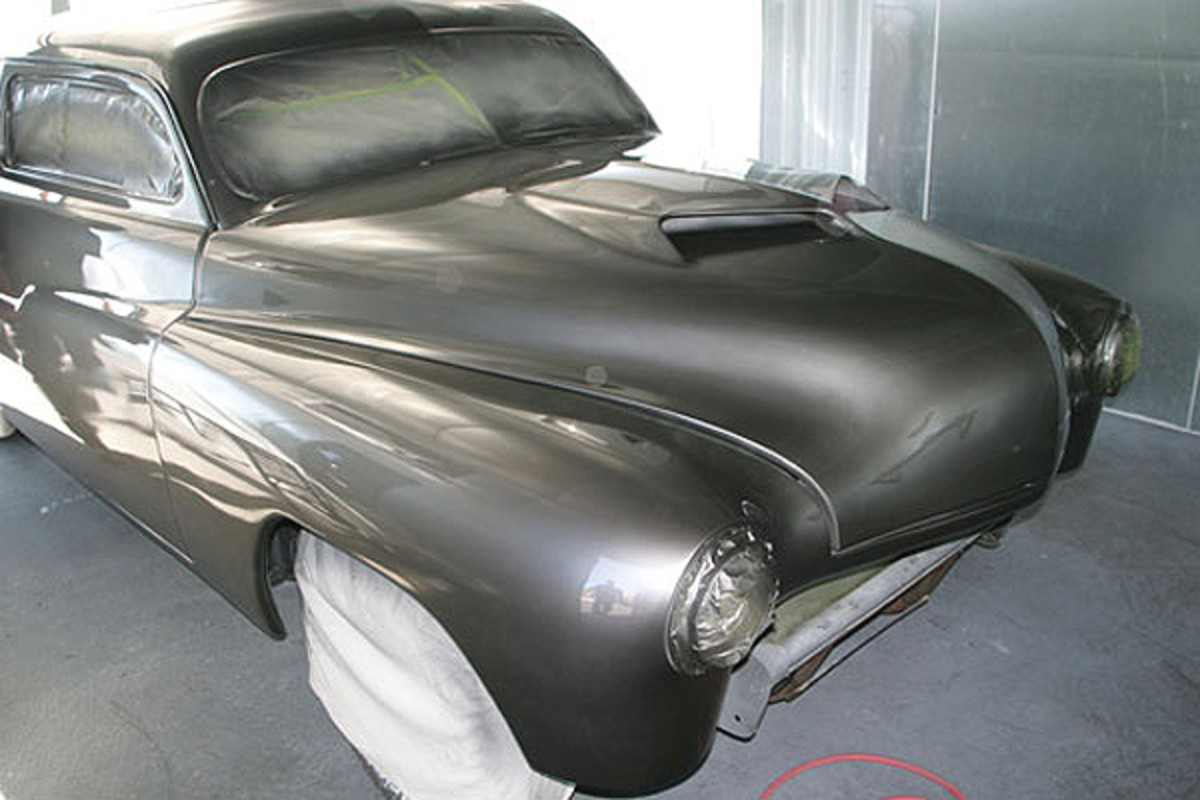 Once we got the car in the booth, this job went well. The process took about a gallon of paint and two gallons of clear. Brian did not go for the 'high shine' finish in the booth, as he knew that would risk a potential run in the paint and the car was going to be buffed out completely anyway.