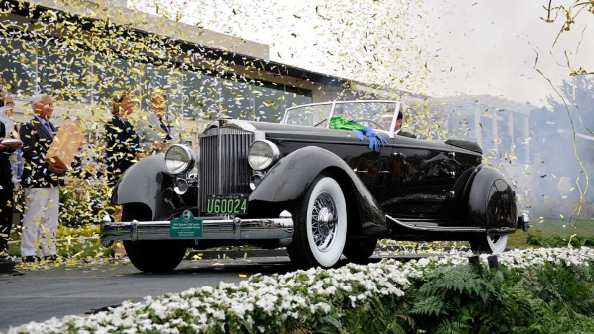 The Pebble Beach Concours d'Elegance proclaimed this 1934 Packard 1108 Twelve Dietrich-bodied convertible victoria owned by Judge Joseph Cassini III and his wife Margie as Best of Show at the 2013 event.