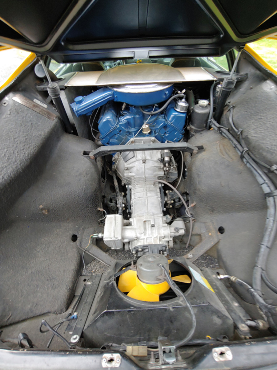 A look at the business end of the Pantera shows a Ford supplied 310-hp, 351-cid V-8 coupled with a five-speed transaxle.