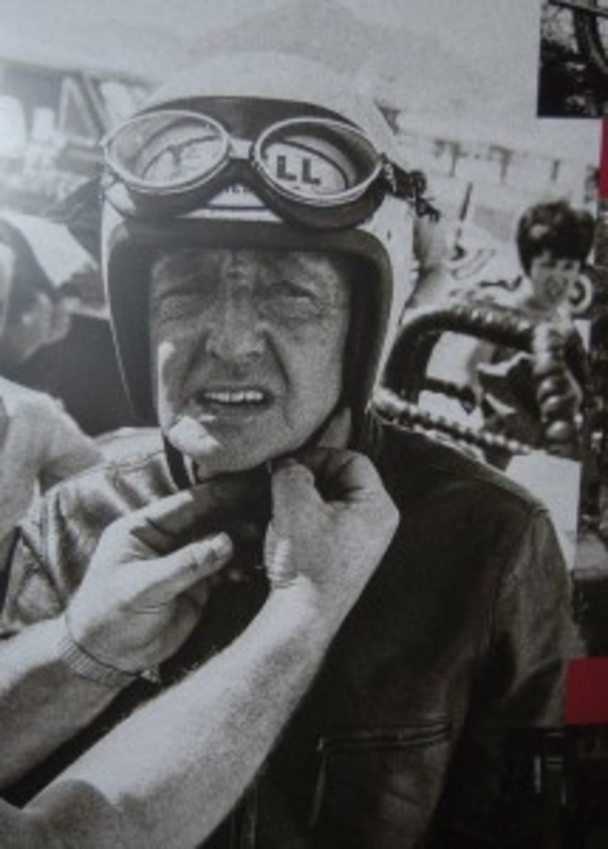 Here is the real Burt Munro putting on his helmet.