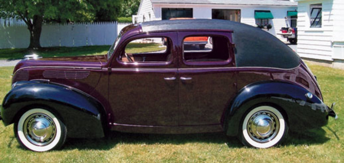 This 1938 Ford DeLuxe V-8 is believed to have been modified under the Brewster name for the Vanderbilt family and wears several unique features.