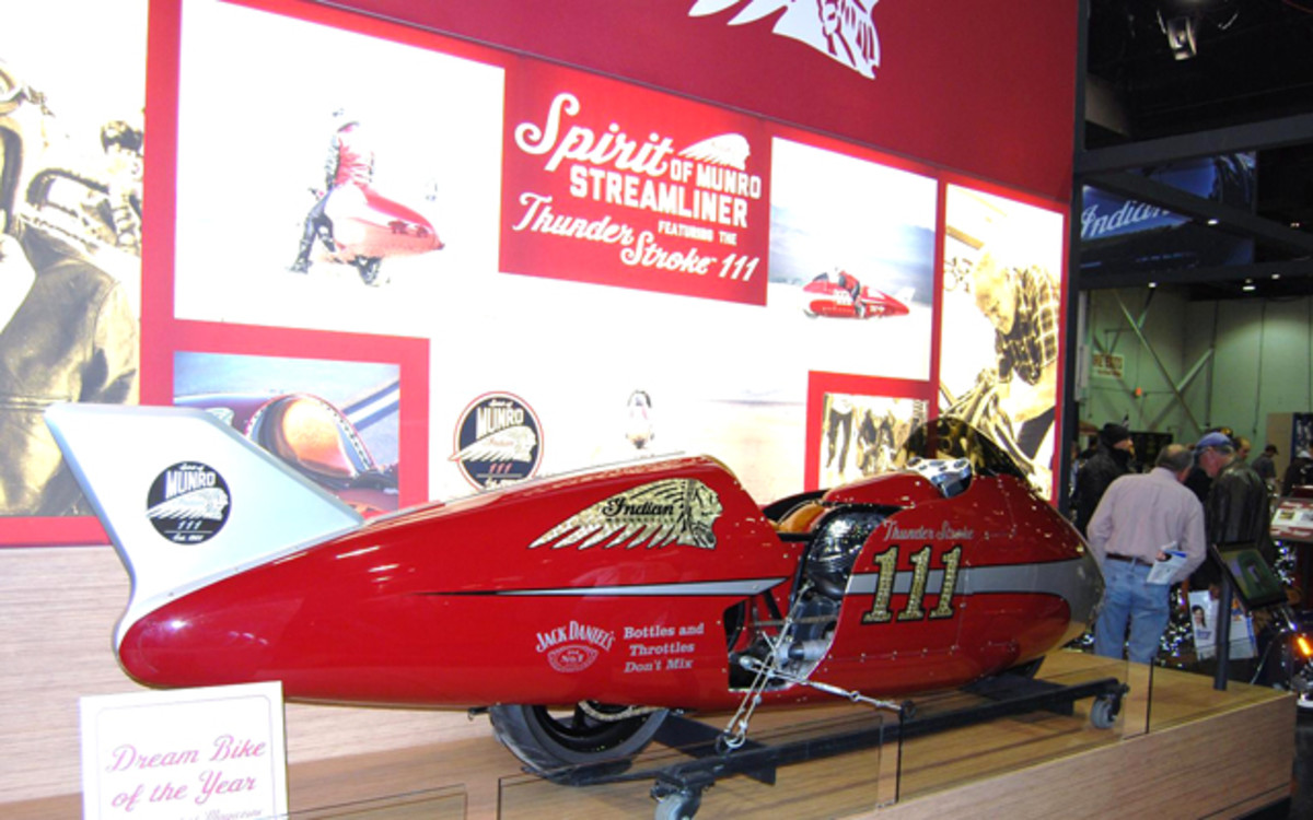 This is a replica of the streamlined bike Munro raced at Bonneville.
