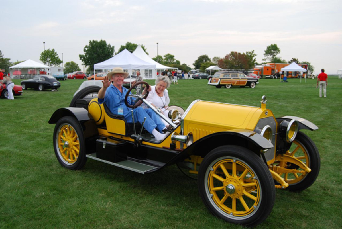 John Kelsey and his wife Jan in the 1914 Stutz Bearcat at the Milwaukee Masterpiece (www.milwaukeemasterpiece.com) in 1912.