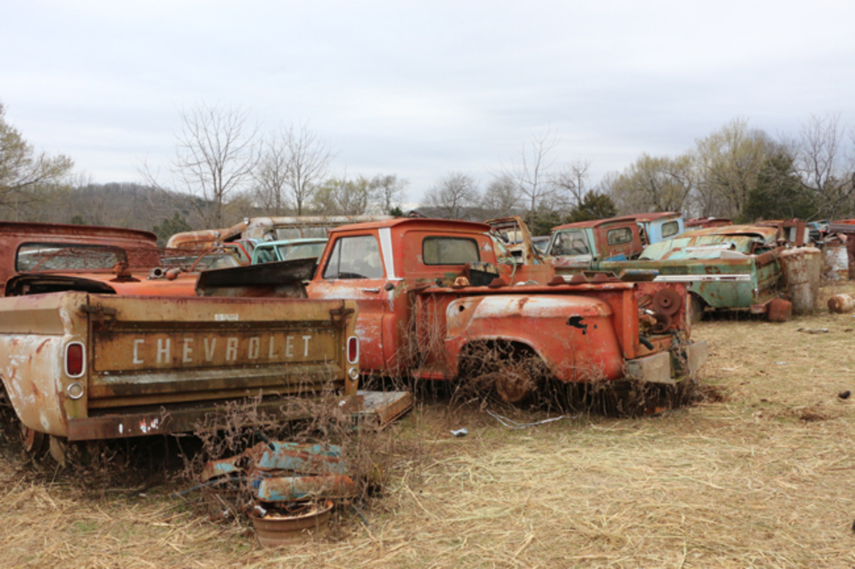 There are a lot of trucks in the yard including this row of 1963-1966 Chevrolets. Another nearby row features Chevy trucks from 1967-1972.