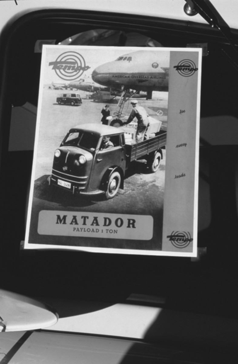 To help car show spectators identify his unique truck's origin, Eric Parsons had this manufacturer's brochure taped to the Matador's windshield in Scottsdale, Ariz.