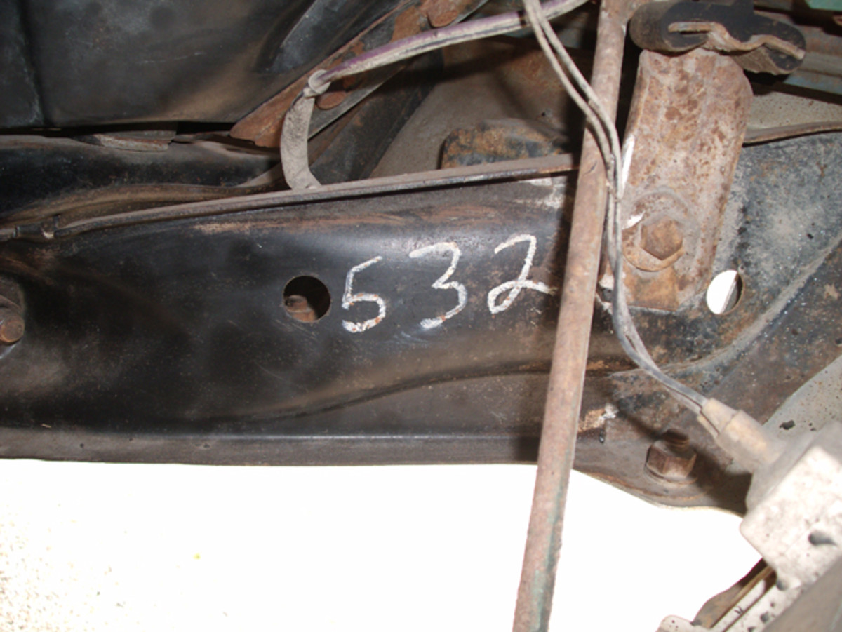 As has long been the case in the old-car hobby, stampings and markings are important to document a rare car. This number is found on the frame of Steve Bimbi's 1970 Chevelle SS 454.