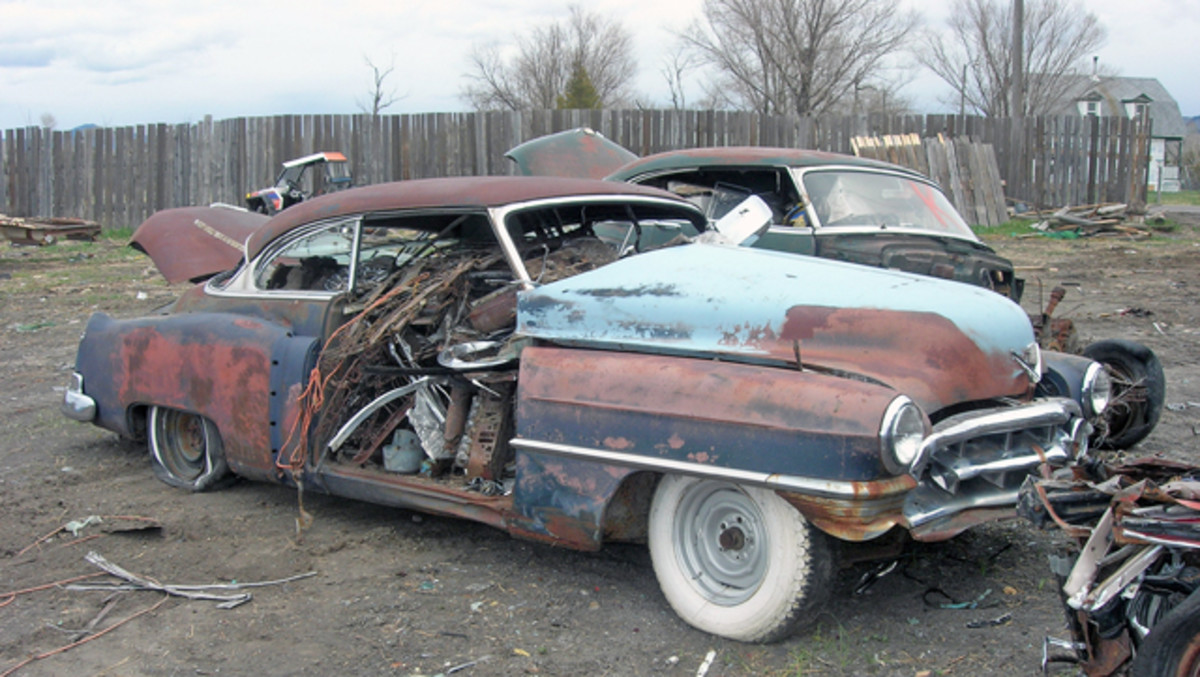 This 1950 Cadillac hardtop was stuffed with scrap metal in preparation to be fed to the crusher. It was one of the estimated 3,500 vintage vehicles that were scrapped when Freman Auto Wrecking in Whitehall, Mont., closed recently.